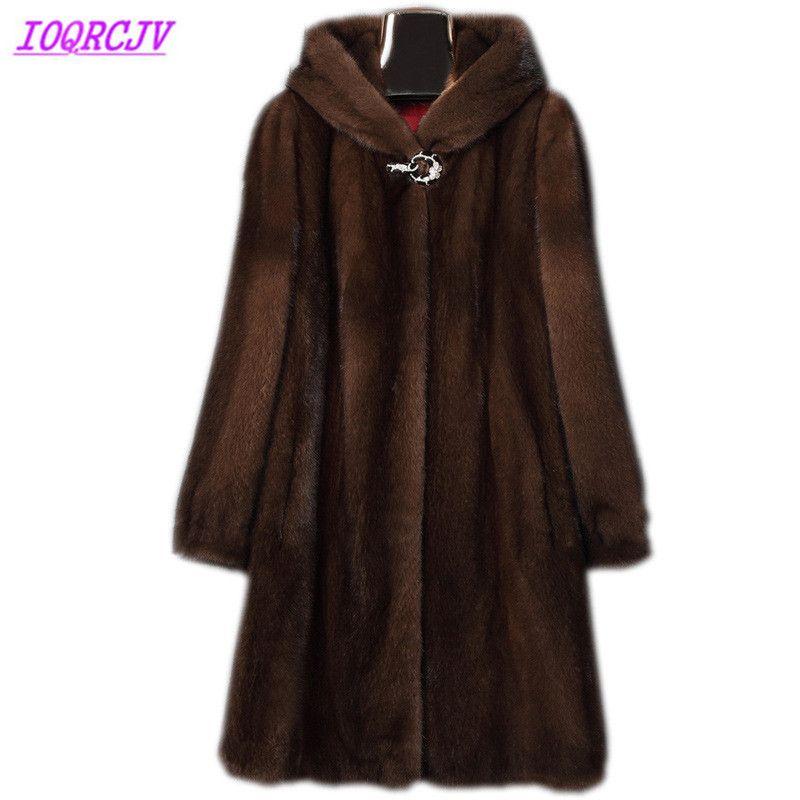 Nerz mantel frauen 2018 herbst und winter Plus größe 6XL pelzmantel Kapuze Langen mantel Dicke warme weibliche top winter IOQRCJV H411