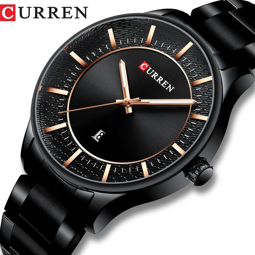 CURREN Top Brand Man Watches Clock Man Fashion Quartz Watches Men Business Steel Wristwatch with Date Classic Black Male