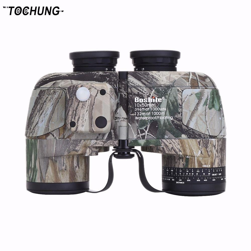 TOCHUNG binoculars 10x50 professional military marine waterproof compass telescope, HD bak4 rangefinder wide angle binoculars