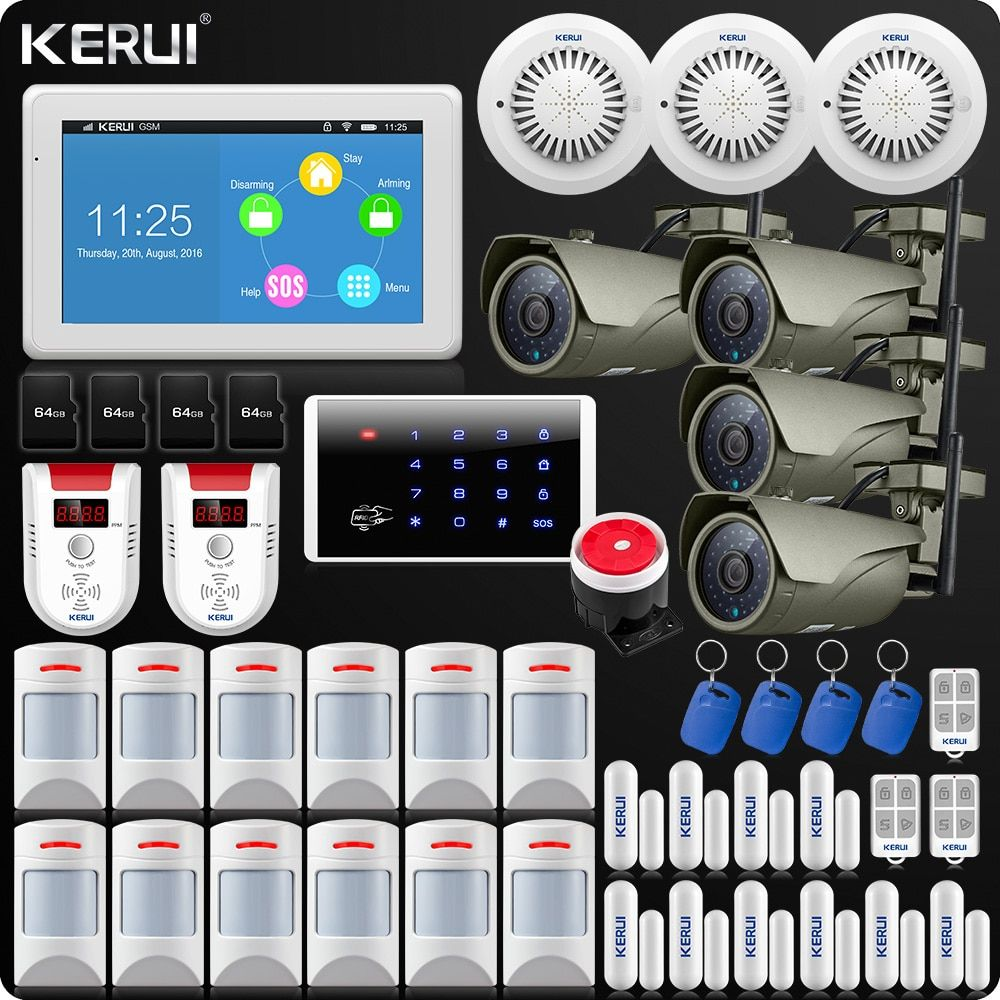 KERUI 7 Zoll TFT Farbe Display WIFI GSM Alarm System ISO Android App Fernbedienung Home Alarm Sicherheit Rauch Sensor