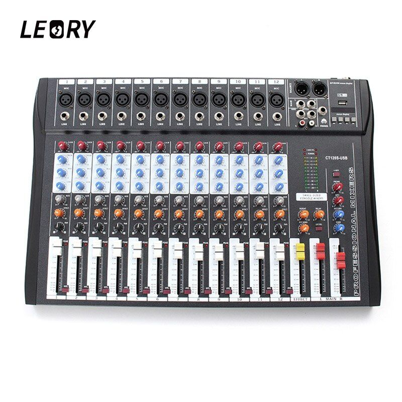 LEORY Professional 12 Channel Karaoke Audio Mixer Microphone Digital Sound Mixing Amplifier Console With USB 48V Phantom Power