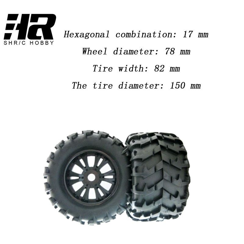 2Pcs RC 1/8Car Wheel diameter 78mm Tire width 82 mm tire diameter 150mm heel Rim and Tire 810006 for Traxxas Tamiya HPI Kyosho