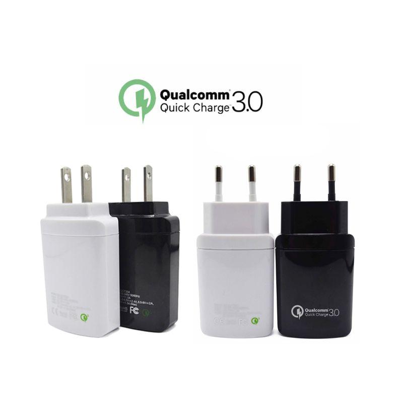QC 3.0 Phone Charger Dual USB EU US Plug Fast Wall Travel Adapter for Asus ZTE Nubia LeEco LG HTC Mi Samsung Sony Moto