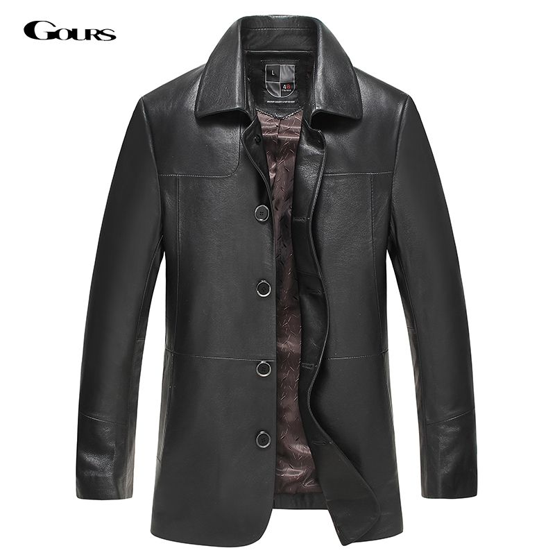 Gours Fall and Winter Genuine Leather Jackets for Men Brand Clothing Black Sheepskin Long Jacket and Coat 2018 New Plus Size 4XL