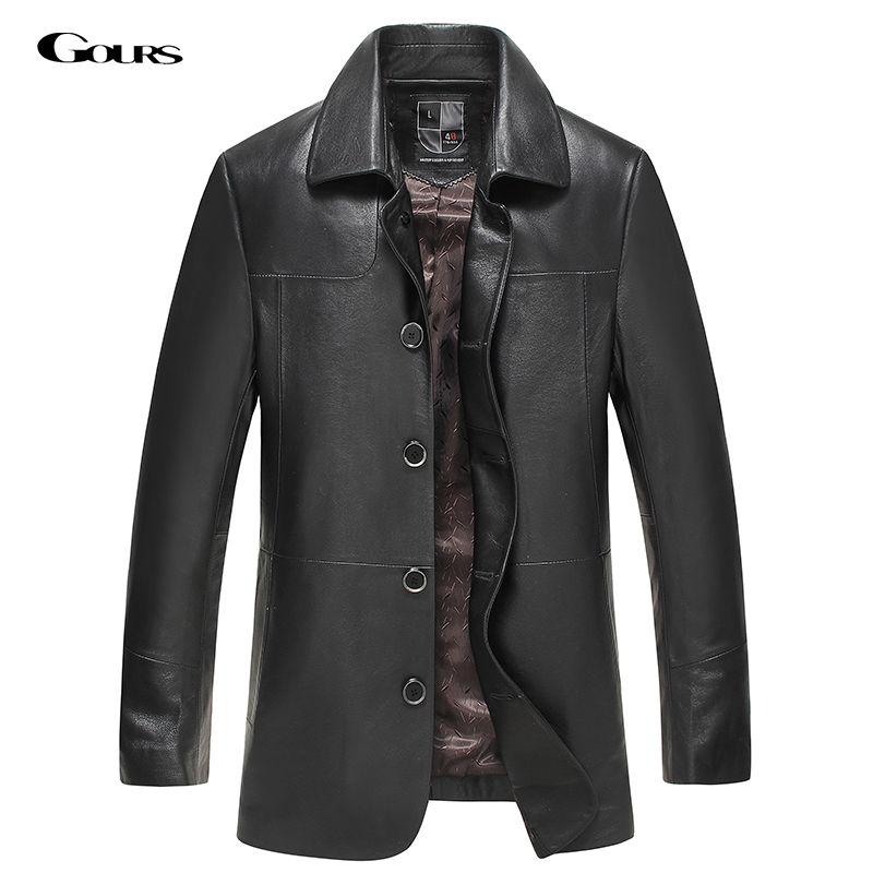 Gours Herbst und Winter Echtem Leder Jacken für Männer Marke Kleidung Schwarz Schaffell Lange Jacke und Mantel 2018 Neue Plus größe 4XL