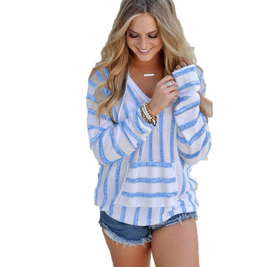 New 2017 Autumn And Winter Knitted Long Sleeve Sweater Women Pullover Female Casual Striped V-neck Loose Women Sweaters Tops