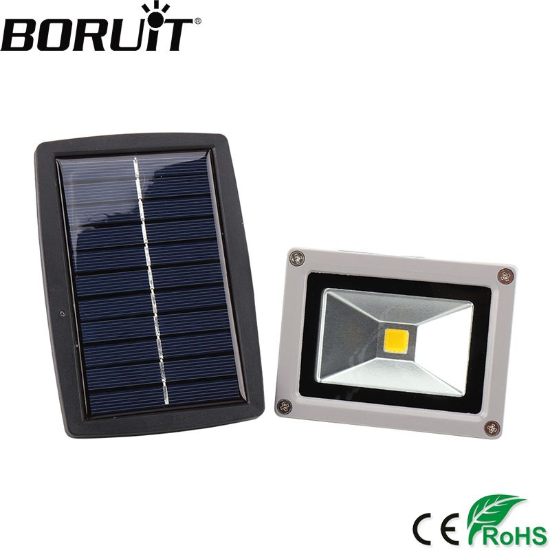 BORUiT 10W Solar Power LED Floodlight 10W 24V Flood Light IP44 Waterproof Spotlight Outdoor Lighting Garden Lamp