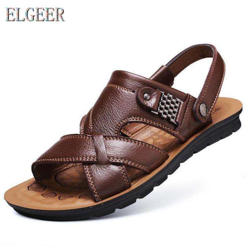 2018 chaussures de plage d'été hommes décontracté sandales antidérapantes 100% en cuir sandales pour hommes chaussure