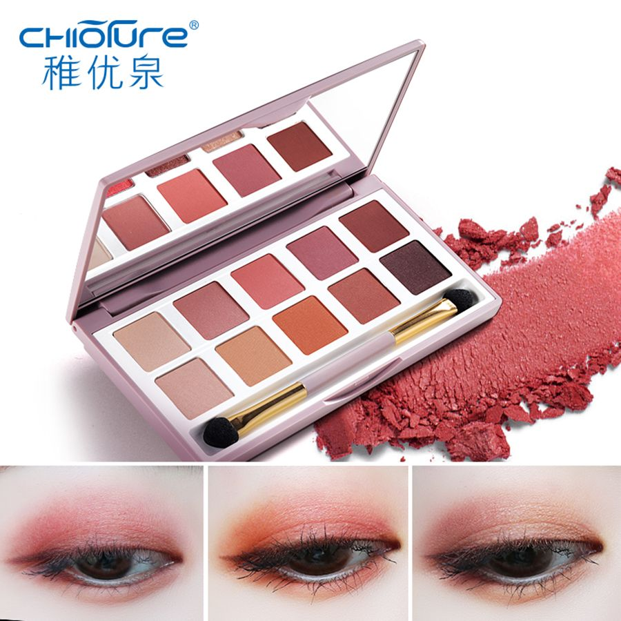 CHIOTURE 10 Colors Matte Shimmer Glitter Eyeshadow Pallete Eye Shadow Makeup Make Up Palette Maquillage Paleta De Sombra