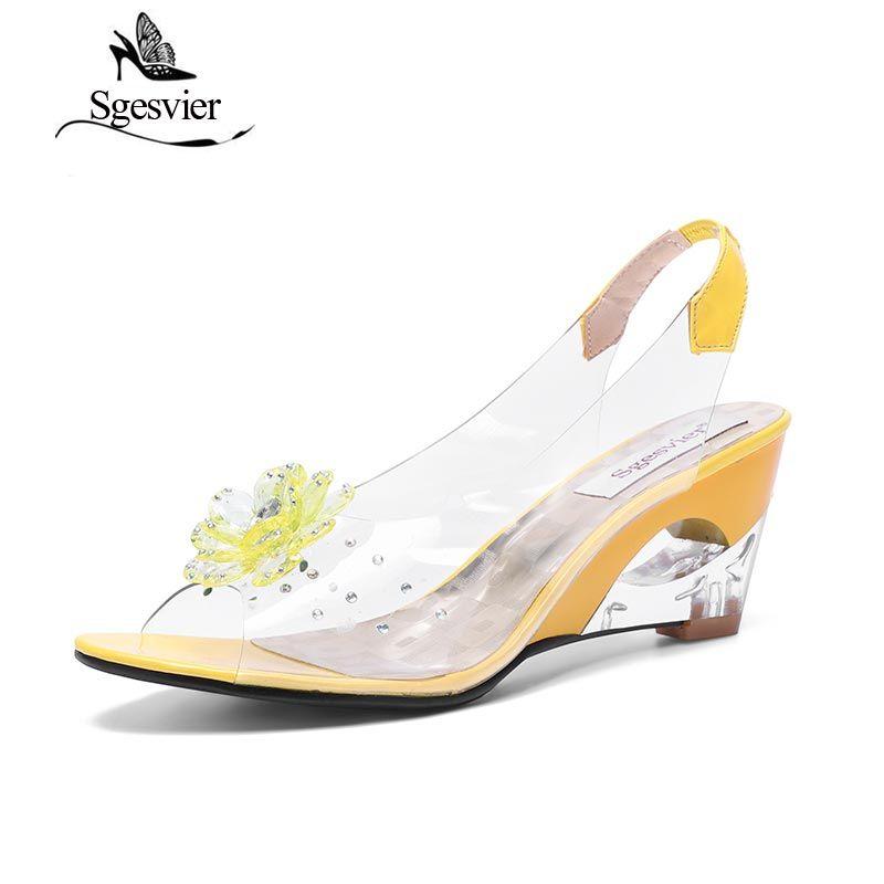 SGESVIER Femmes Sandales Rome Élégant Mode de Haute Qualité Talon Compensé Sandales Robe Casual Chaussures Dame Sandales de Grande Taille 43 OX009