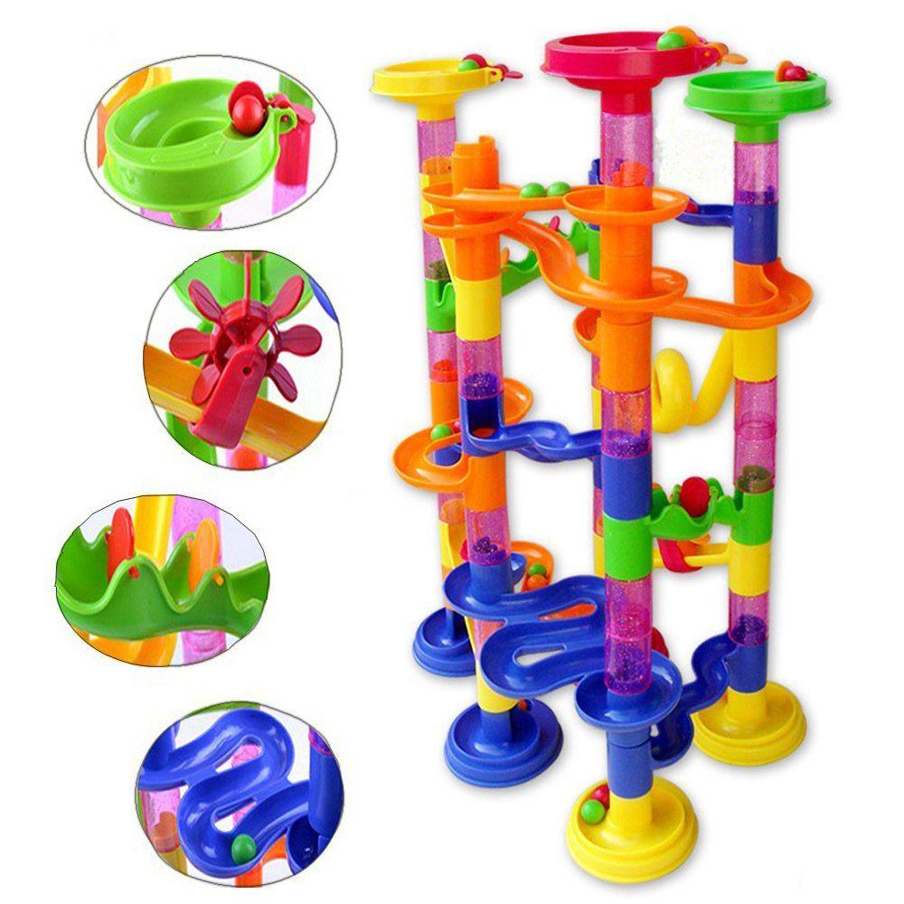 105PCS DIY Construction Marble Race <font><b>Run</b></font> Maze Balls Pipeline Type Track Building Blocks Baby Educational Block Toy For Children