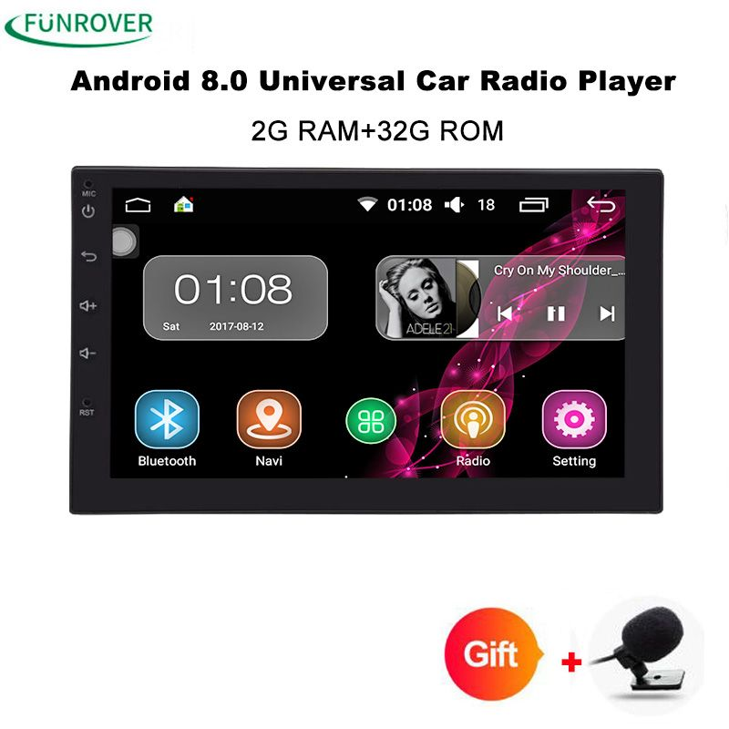 Funrover Android8.0 Auto Radio Quad Core 7Inch 2DIN Universal Car NO DVD player GPS Stereo Audio Head unit Support one din dash