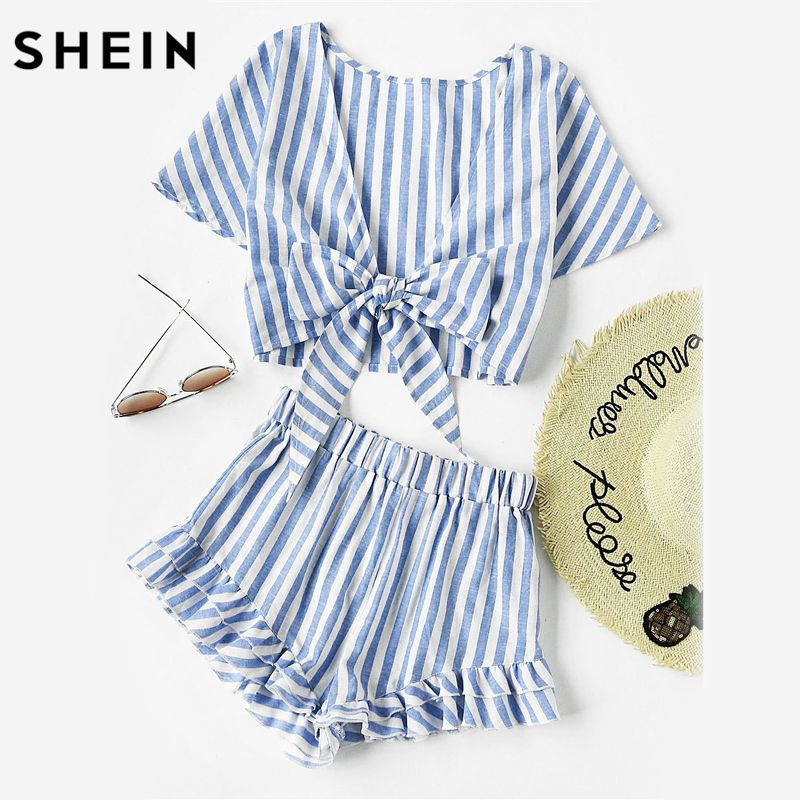 SHEIN Blue Plunging Bow Tie Short Sleeve Two Way Tank Top and Ruffle Shorts Set Women Summer 2017 Girl Backless Two Pieces Set