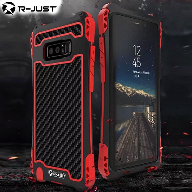 R-JUST Amira Galaxy Note 8 Phone Case Shockproof Carbon Fiber Metal Bumper Case Cover for Samsung Galaxy Note 8