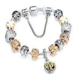 Винтажный цвет серебра талисман браслет с деревом жизни кулон и золотой хрустальный шар Pandora браслет дропшиппинг