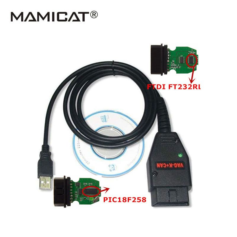 2017 VAG K+CAN Commander 1.4 vag USB OBD Diagnostic Interface OBD2 OBDII Cable For VAG Series With FTDI FT232RL PIC18F258 <font><b>Chip</b></font>