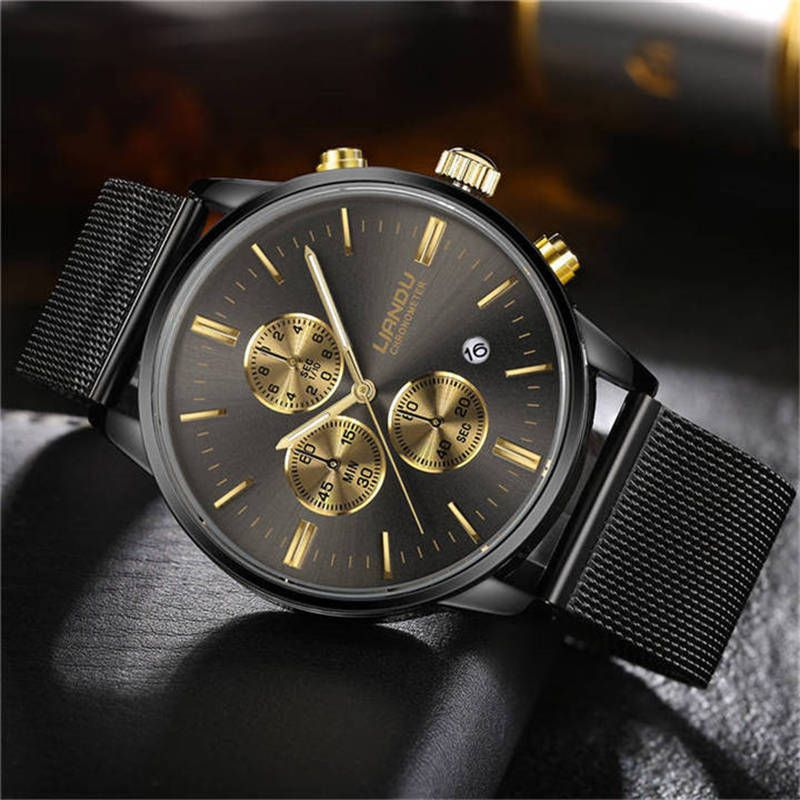 LIANDU Luxury Fashion Mens Chronograph <font><b>Luminous</b></font> Black Dial Quartz Watch Simulated Stainless Steel Mesh Watch with Gift Box