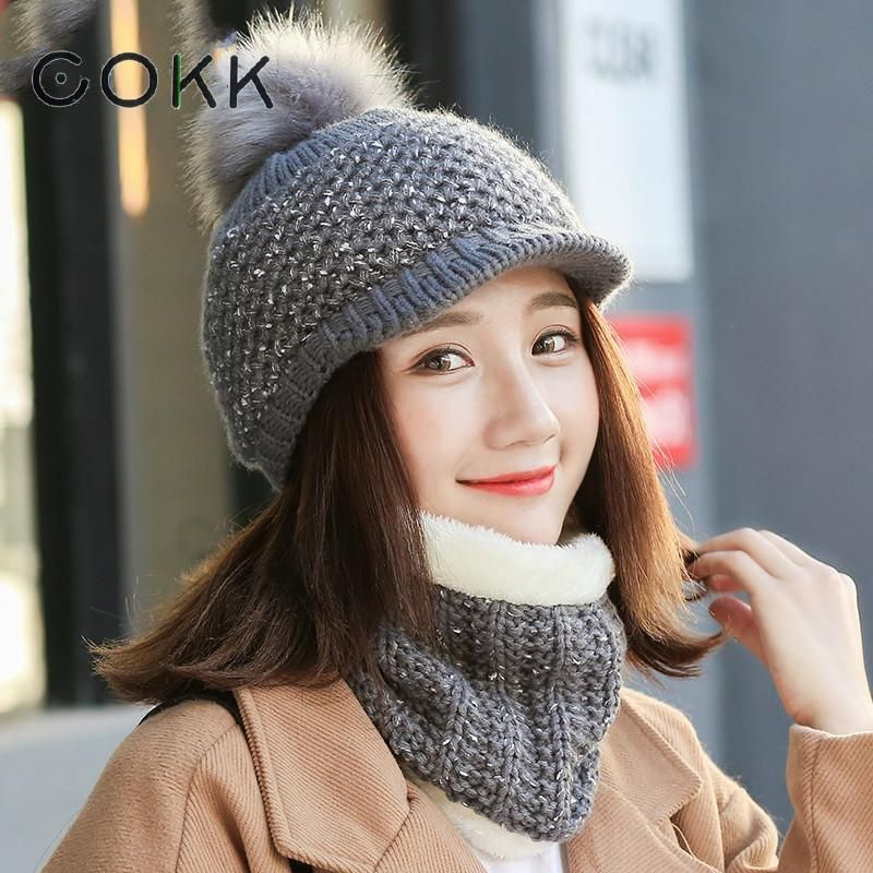 COKK Winter Hats and Scarf For Women Hat Scarf Set Wool Knitted Cap Female Collar Pompom Fur Cap Plus Velvet Winter Cap Mask