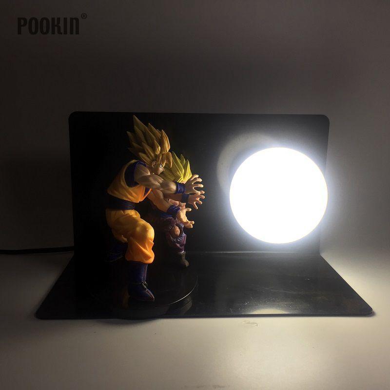 Double Dragon Ball Son Goku And Son Gohan Bombs Luminaria Led Night Light Holiday Gift Room Decorative Led Lamp In EU US Plug