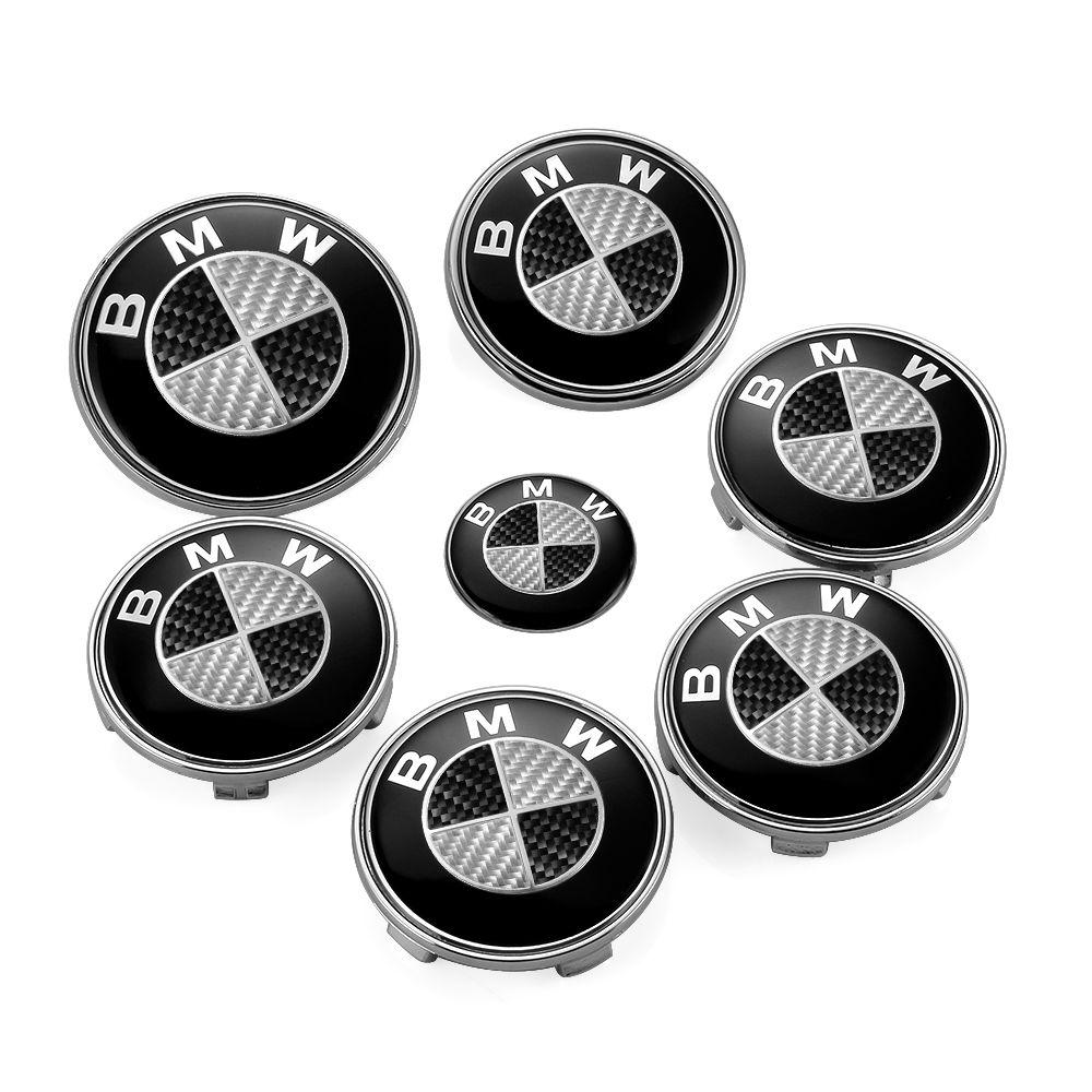 7Pcs BMW Real Carbon Fiber 82mm Front Hood Emblem+74/82mm Trunk Badge+68mm Wheel Center Cap+45mm Car Steering Wheel Logo Sticker
