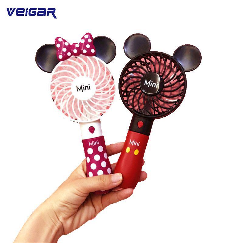 Joli ventilateur Portable Mickey Portable avec batterie intégrée Rechargeable Port USB 800mA Mini ventilateur de refroidissement à l'air pratique pour la maison intelligente