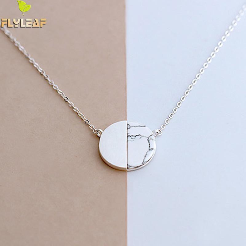 Flyleaf 925 argent Sterling marbre naturel rond colliers et pendentifs pour les femmes Style Simple Sterling-argent-bijoux