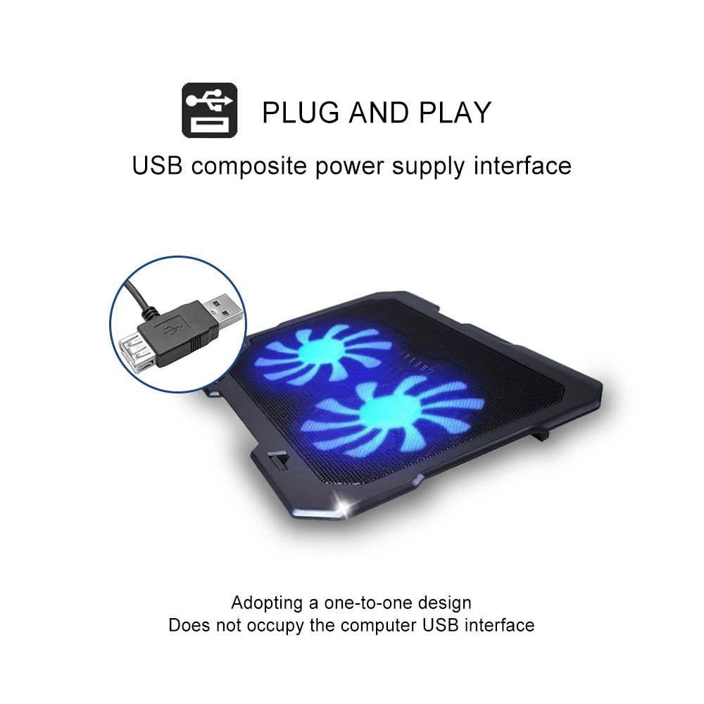 Laptop Cooling Pad Notebook Stand cooling laptop With 2 Quite Fan & blue LED Lights For 11-16