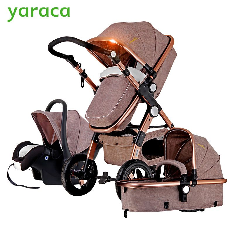 Baby Stroller 3 in 1 with Car Seat For Newborn High <font><b>View</b></font> Pram Folding Baby Carriage Travel System carrinho de bebe 3 em 1