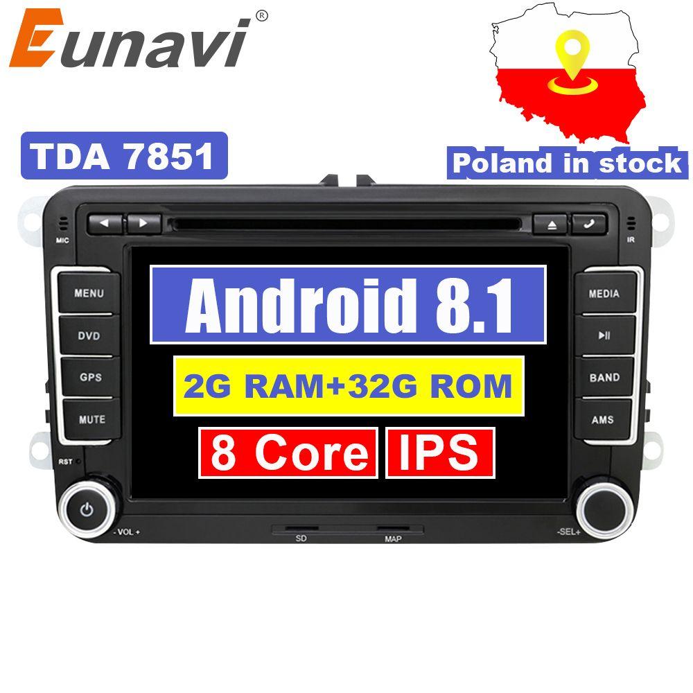Eunavi 2 Din Android 8.1 Auto Audio Auto DVD Player GPS Radio Für VW GOLF 6 Polo Bora JETTA B6 PASSAT tiguan SKODA OCTAVIA OBD