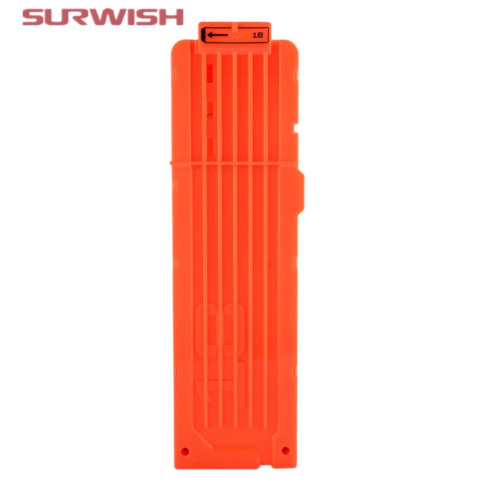 Surwish Clips Para Nerf Pistola de Juguete pistola de Bala Suave 18 Balas de Munición Cartucho de Dardos Para Pistola Nerf Clips-Naranja