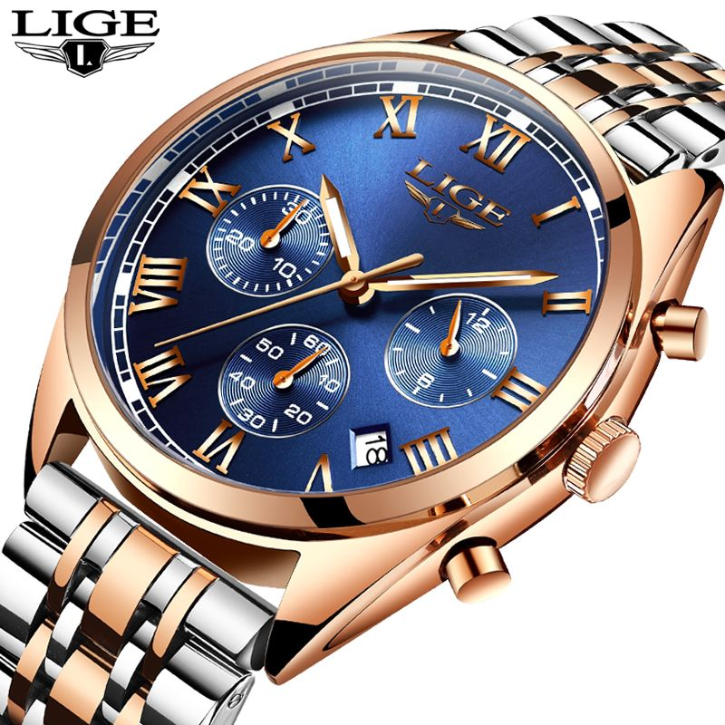 LIGE Mens Watches Top Brand Luxury Men's Fashion Business Watch Men's Waterproof Stainless Steel Quartz Clock Relogio Masculino