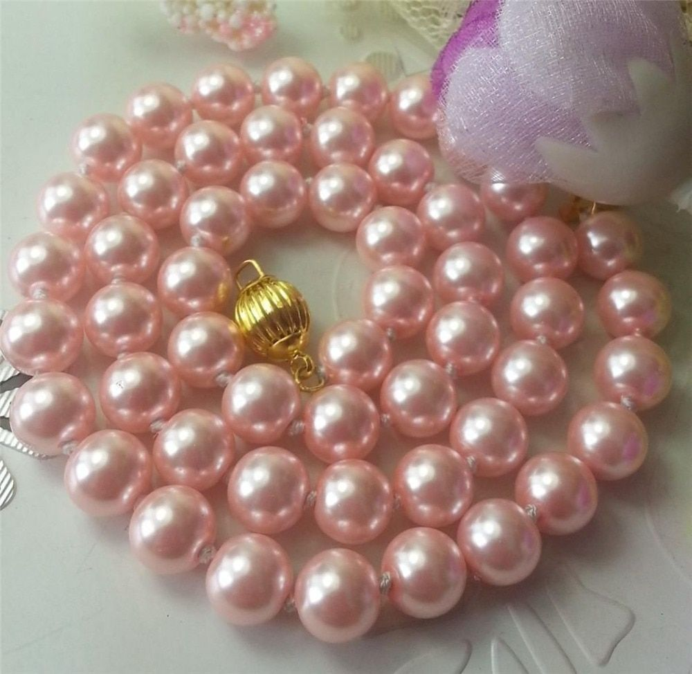 8mm Pink Ocean Shell Pearls Necklace Pearl Jewelry Rope Chain Necklace Pearl Beads Natural Stone 35inch(Minimum Order1)