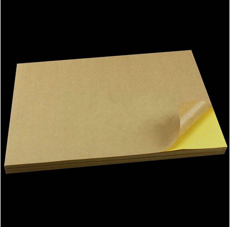 100 Sheets/lot A4 Sticky Kraft Paper, Self adhesive A4 Blank Kraft Label Paper for Laser Inkjet Printer Packaging Label  OP009