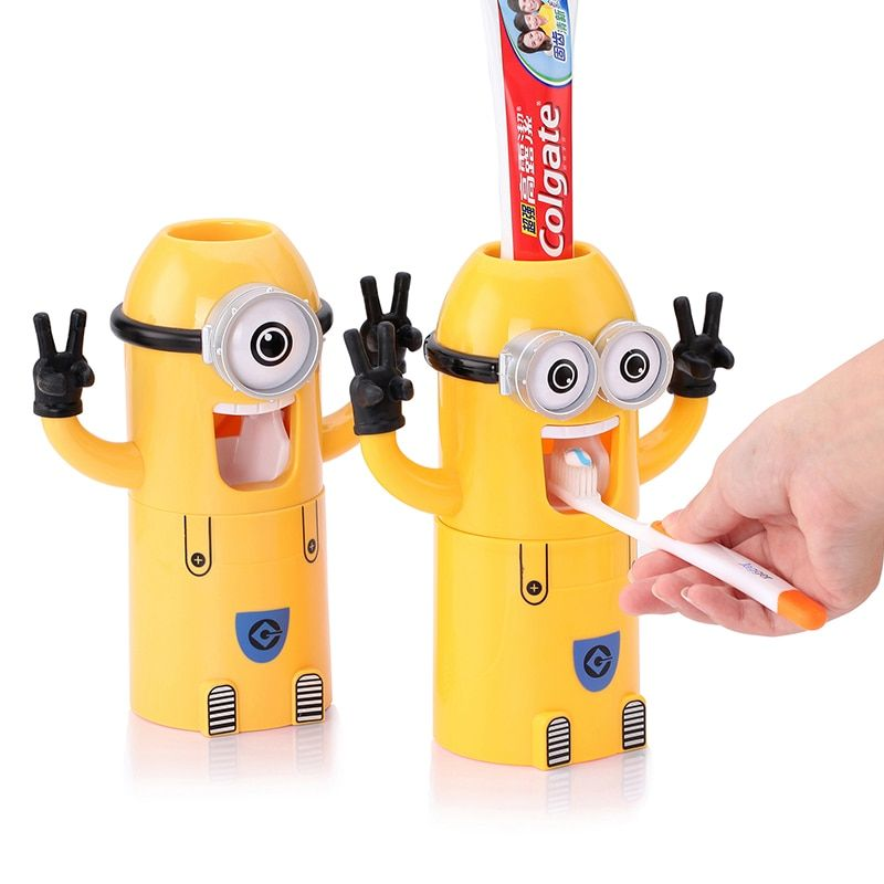 Dropshipping Minion distributeur Automatique de dentifrice Brosse À Dents Titulaire Produits Creative accessoires de salle de bains Dentifrice Squeezer