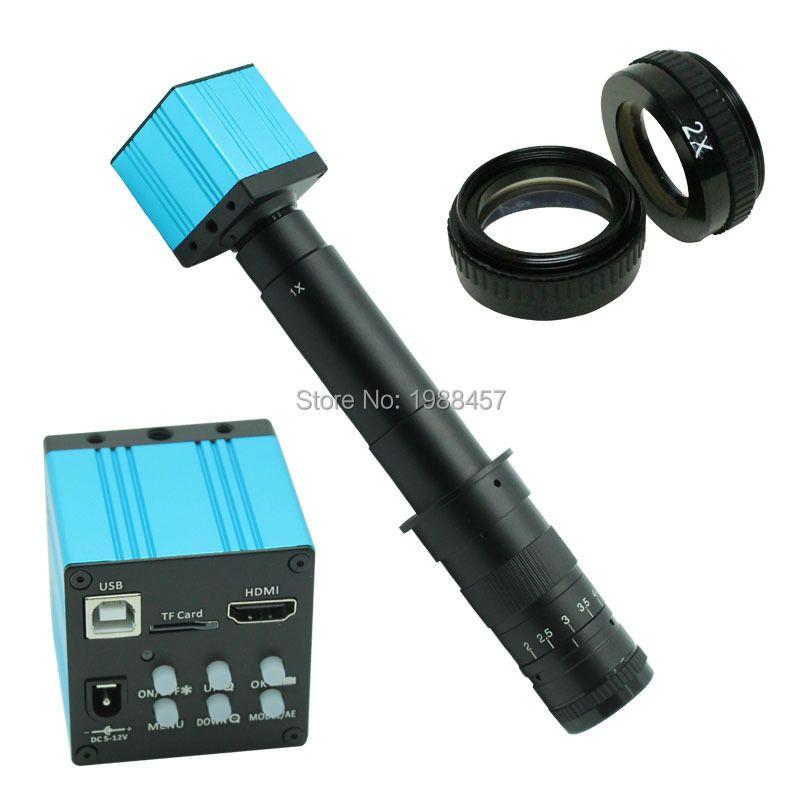 HD 14MP HDMI USB Numérique L'industrie Vidéo Microscope D'inspection Caméra Ensemble TF Carte Vidéo Enregistreur + 28X-600X C-MOUNT Zoom Lens