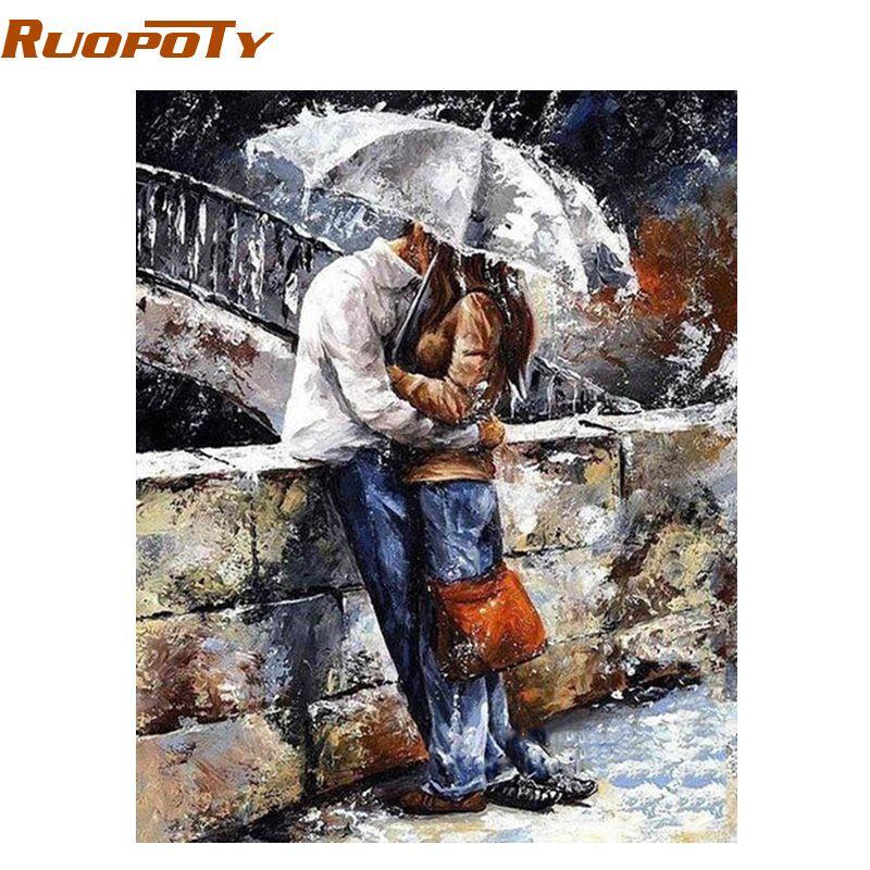 RUOPOTY cadre amoureux peinture à la main par numéros peint à la main peinture à l'huile mur Art photo œuvre à la maison pour la décoration de mariage