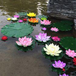 1 unids artificiales loto flor flotante estanque ornamento planta 10 cm jardín decoración vivero