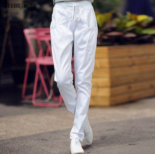 Summer Autumn Women's Harem Jeans Regular Long Ladies Denim Pants Trousers Black White Red Green Blue