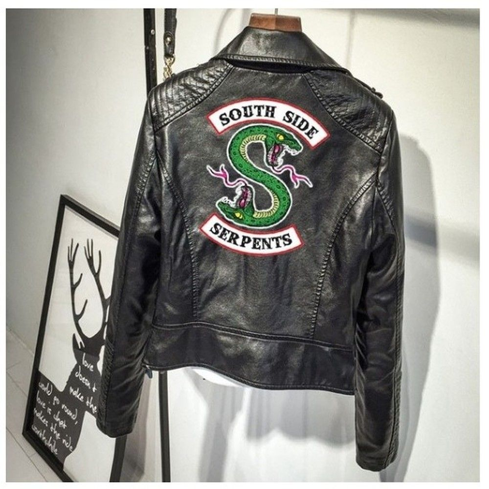 BTS Print Logo Southside Riverdale Serpents Pink/Black PU Leather Jackets Women Riverdale Serpents Streetwear Leather Brand Coat