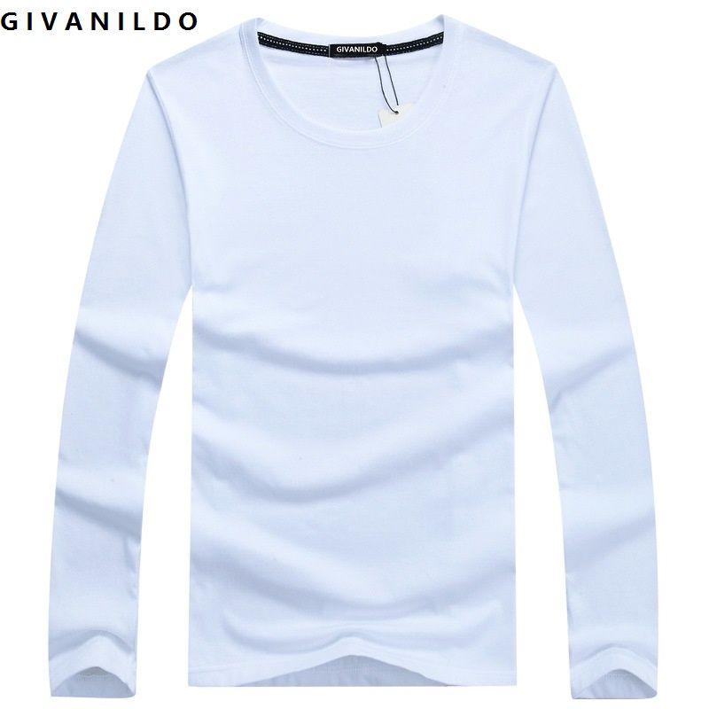 Givanildo Männer T-shirt Kleidung Blank T-shirt Langarm 2017 Herbst Junge Solide T-shirt Großformat Casual Baumwolle Mode BY056