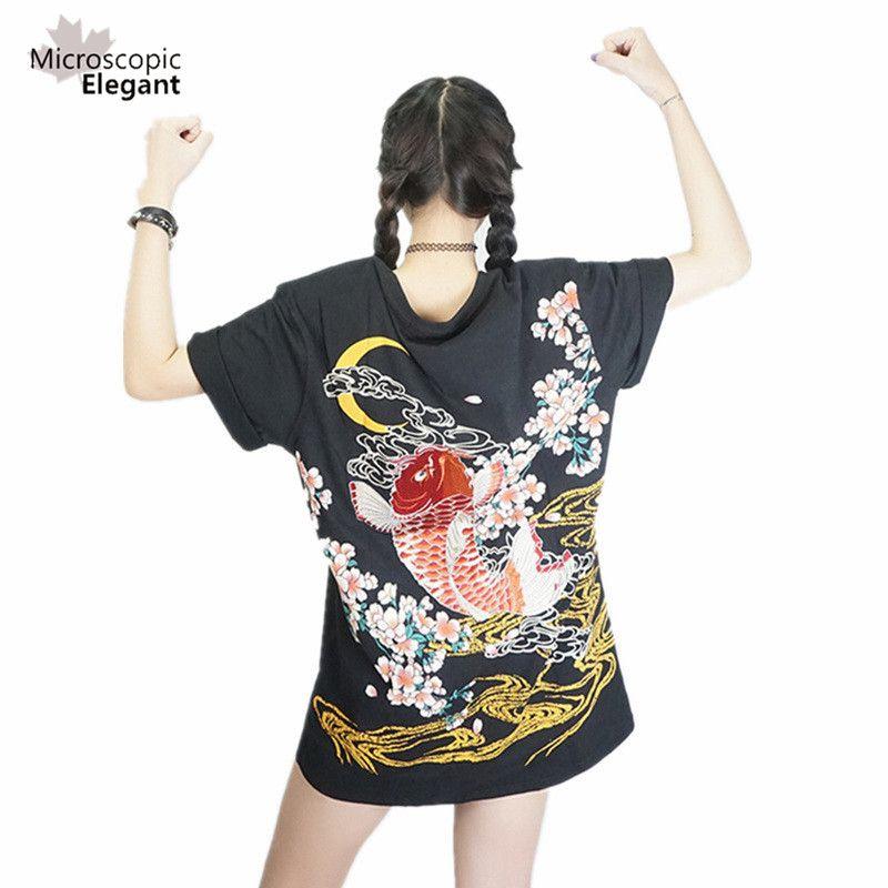 harajuku Япония футболка женская 2017 ЙОКОСУКА вышивка дракон кои и бейсбол равномерное Панк фанк рок майка женская