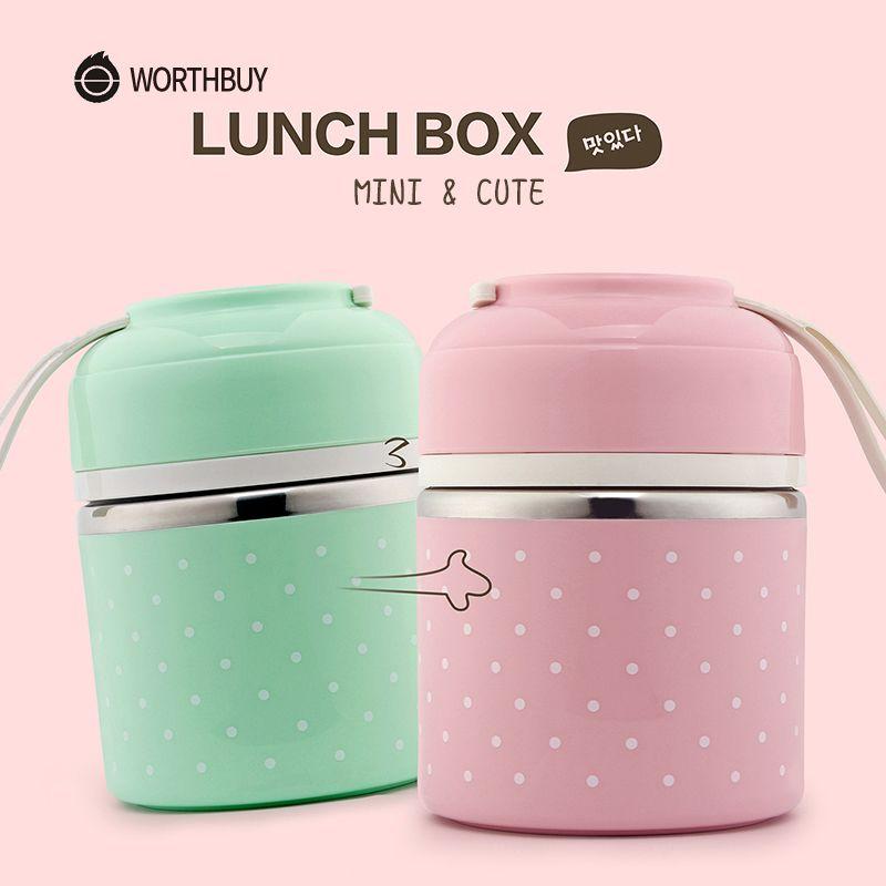 Boîte à Bento en acier inoxydable étanche à l'eau de boîte à déjeuner thermique japonaise mignonne