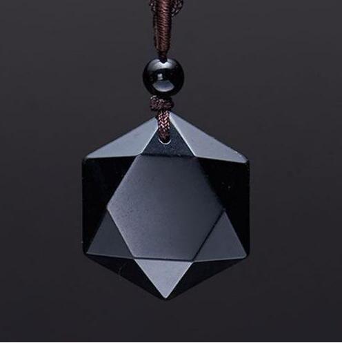 Envío de la gota Negro estrella de RongDe colgante de Obsidiana collar colgante de obsidiana Suerte Amor Joyas de Cristal Con la Cuerda Gratis