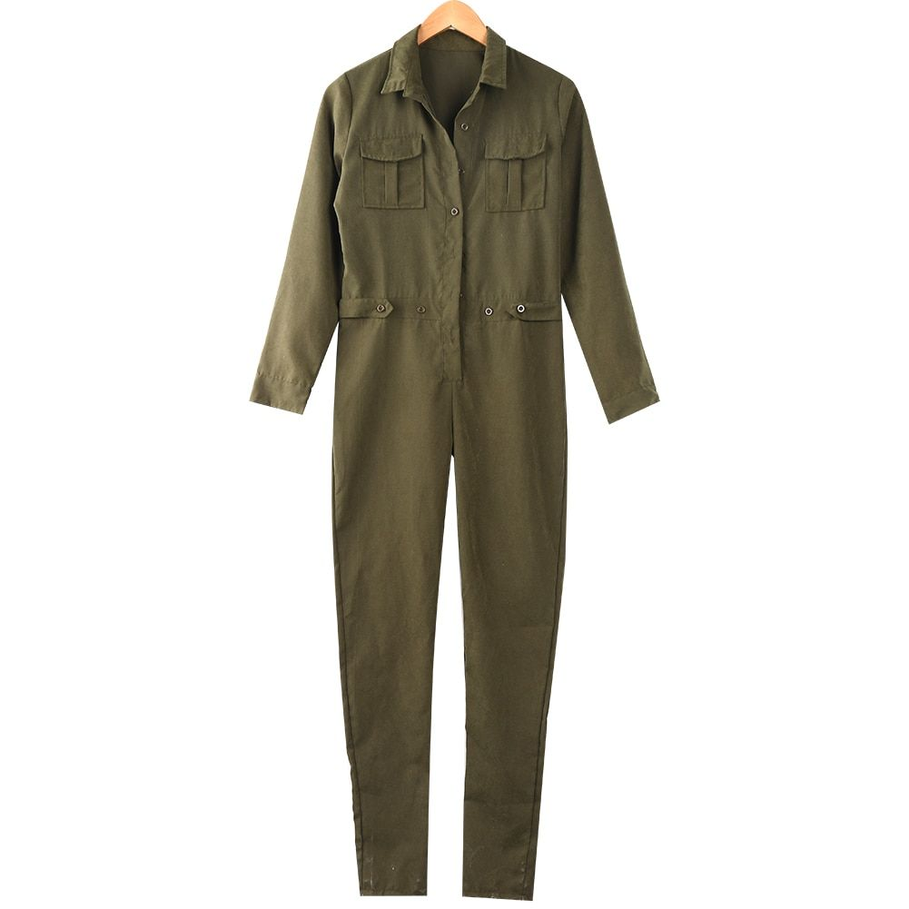 Fashion Women Long Sleeve Sexy V Neck Evening Party Playsuit Jumpsuit Romper Stylish Womens Regular Long Jumpsuits Army Green