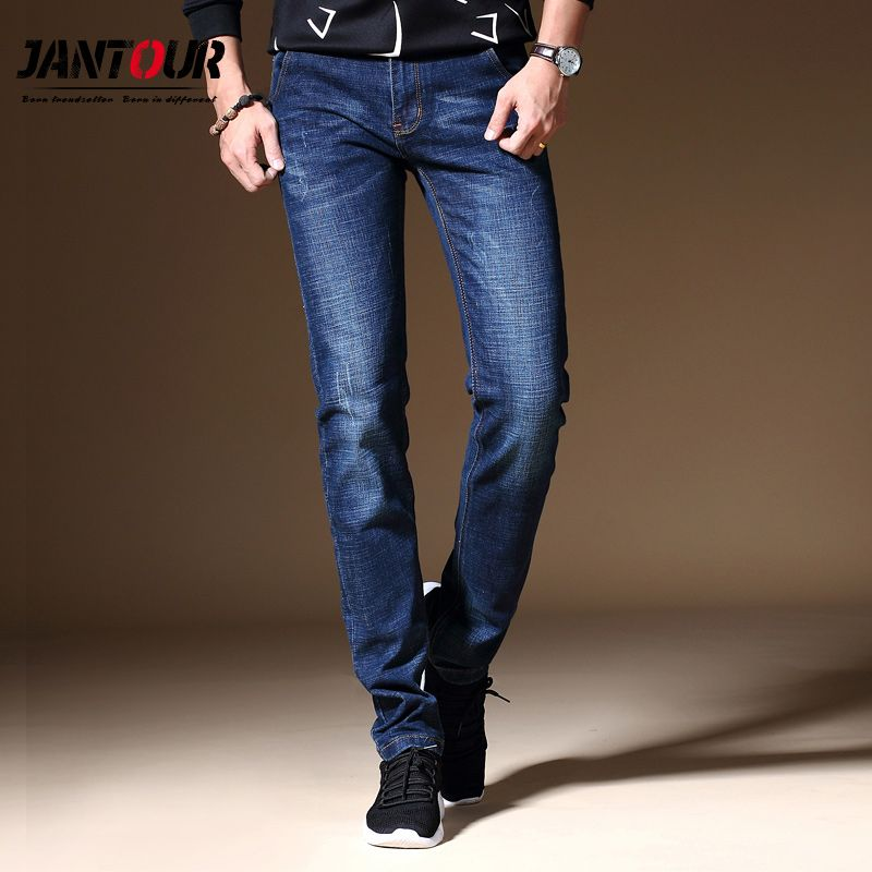 2018 Men Jeans Business Casual Straight Slim Fit Blue gray Jeans Stretch Denim Pants Trousers Classic Cowboys Young Man Jeans
