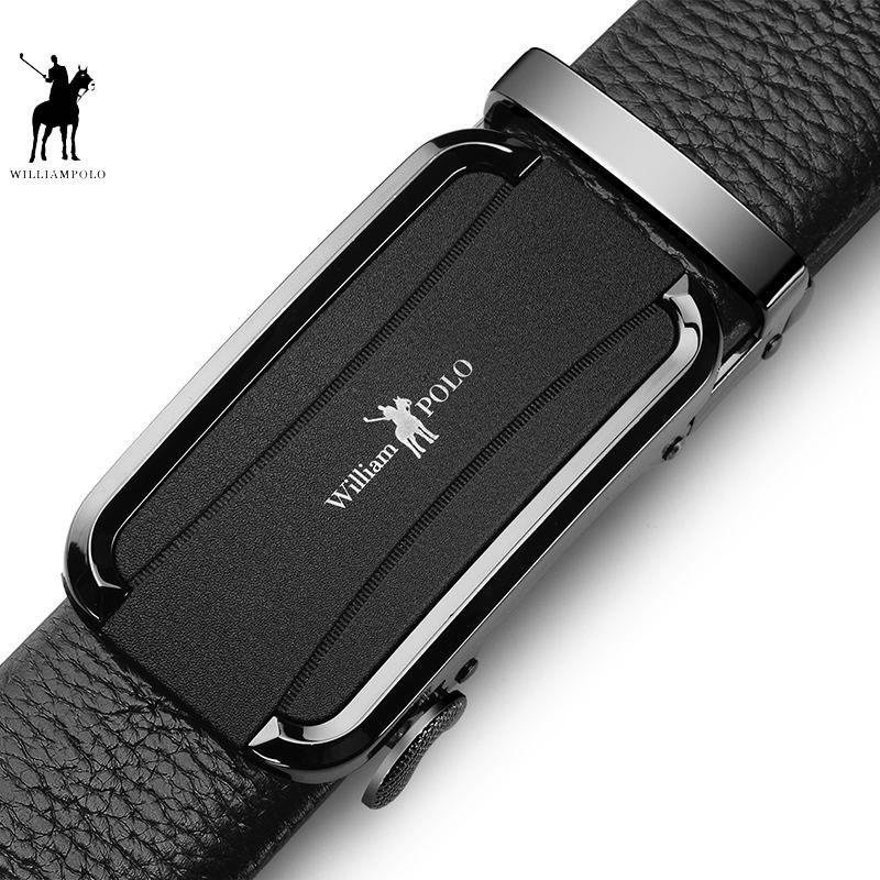 Marke Gürtel Männer Top Qualität Echtes Luxus Leder Gürtel für Männer, Band Männlichen Metall Automatische Schnalle POLO18188P