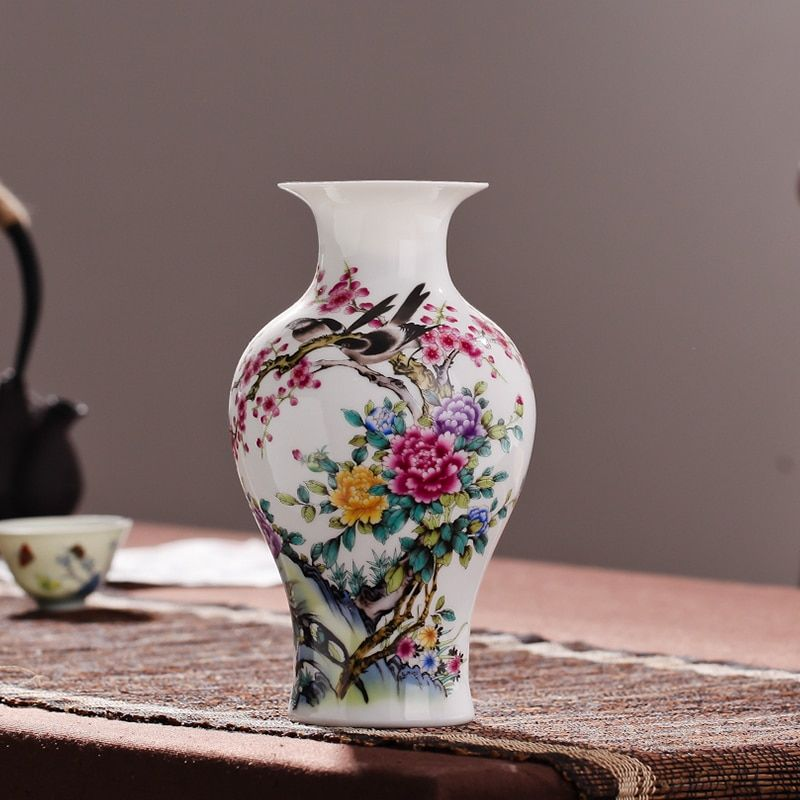 Vase de table en céramique blanche de bureau Jingdezhen Article d'ameublement émaillé de Style chinois Vintage pour la décoration de salon à la maison