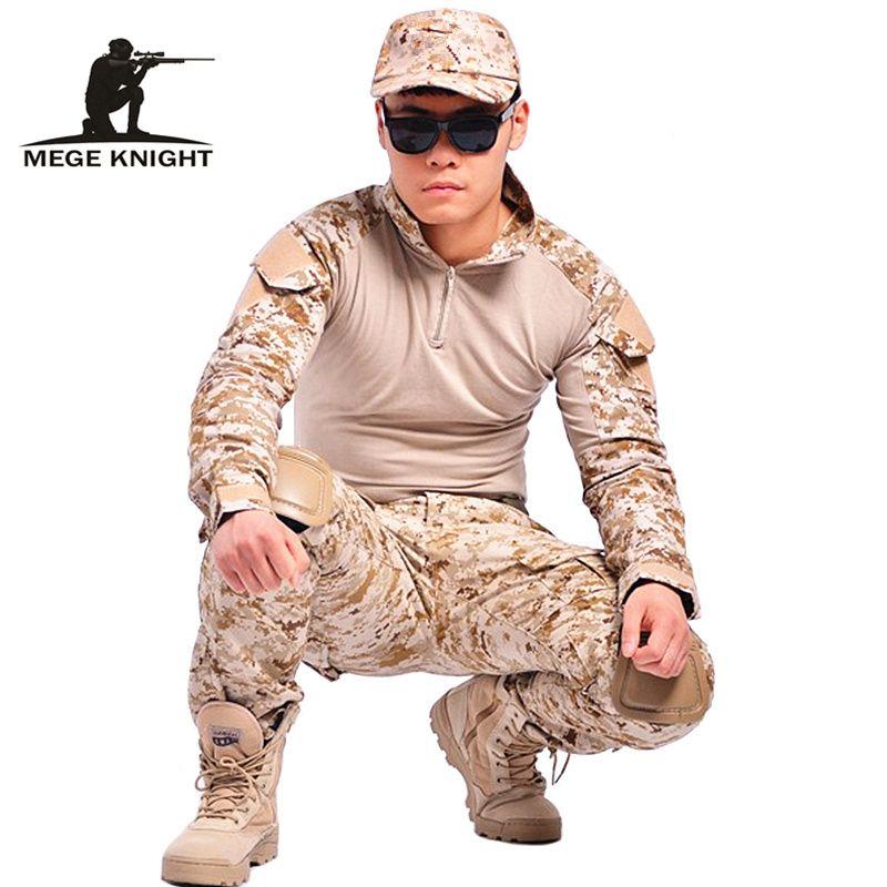 Camouflage tactique militaire vêtements paintball armée cargo pantalon combat pantalon multicam militar tactique pantalon avec genouillères