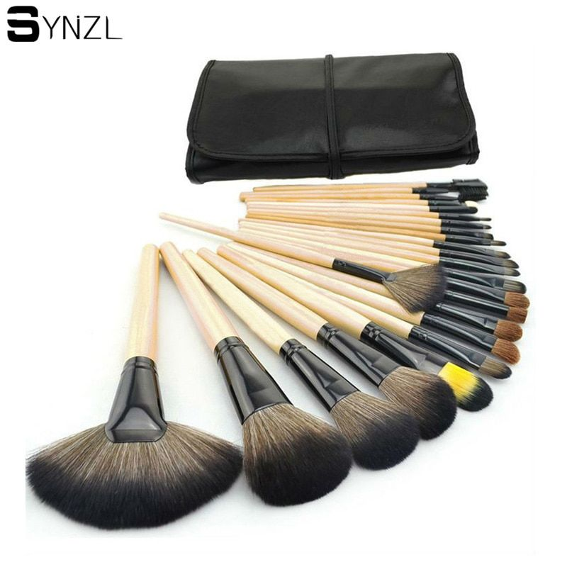 Professional 24 pcs Makeup Brushes Set wood handle big powder blush eye shadow eyebrow eyeliner Make up Brushes with Case