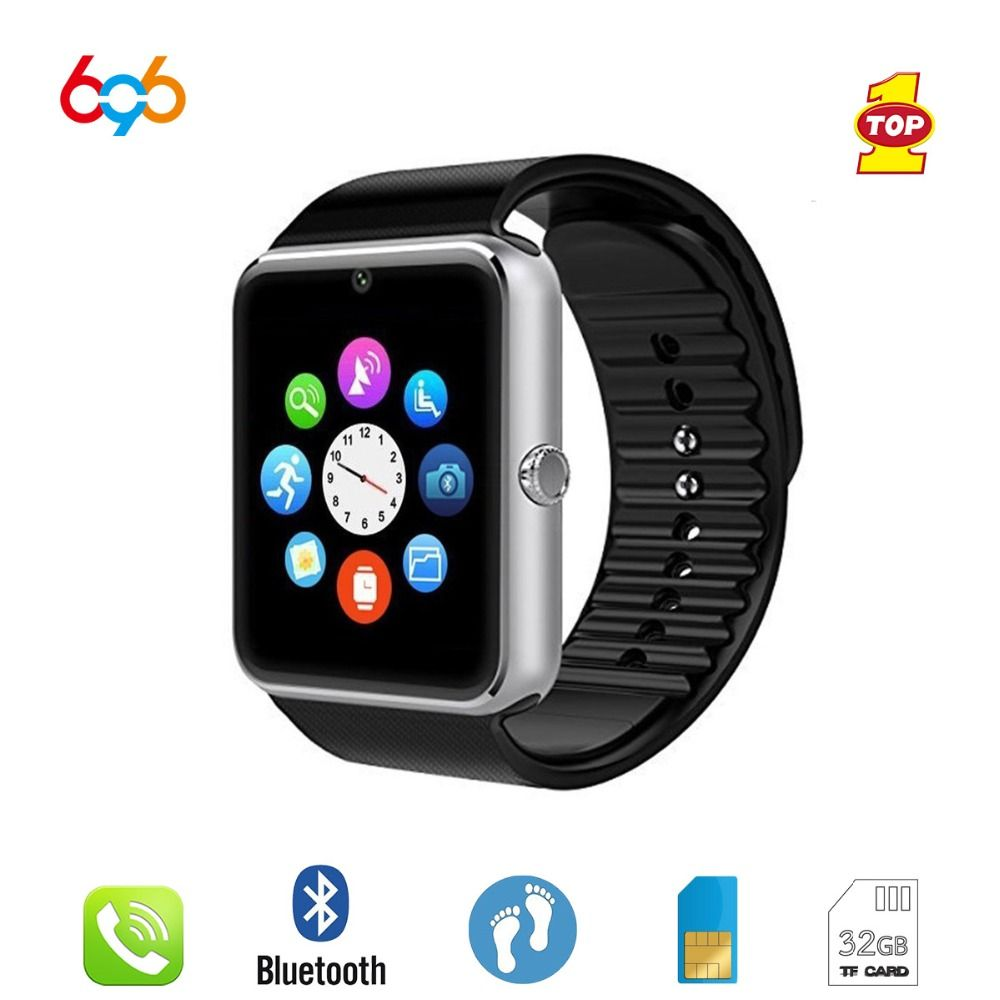 696 Montre Smart Watch GT08 Horloge Sync Notifiant Soutien Sim TF Carte Bluetooth Connectivité Android Téléphone Smartwatch Alliage Smartwatch